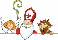 Saint Nicholas, devil and angel peeking out behind white surface - vector illustration